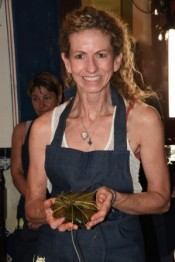 Picture of Christina with food at Los Dos Cooking School, under Chef David Sterling, promoter of Slow Food Yucutan